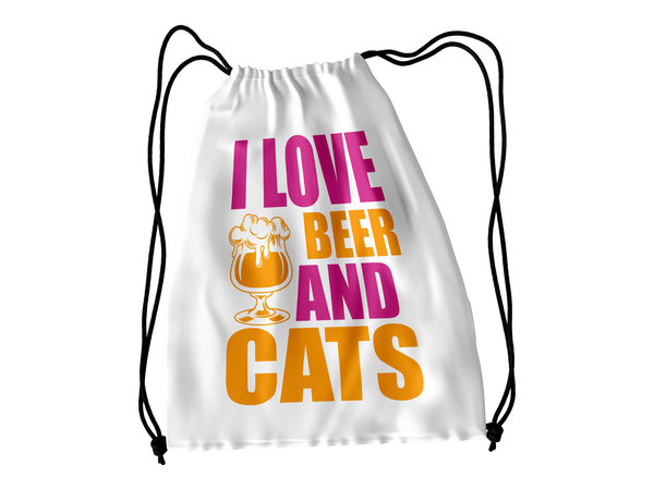 I Love Beer and Cats Turnbeutel